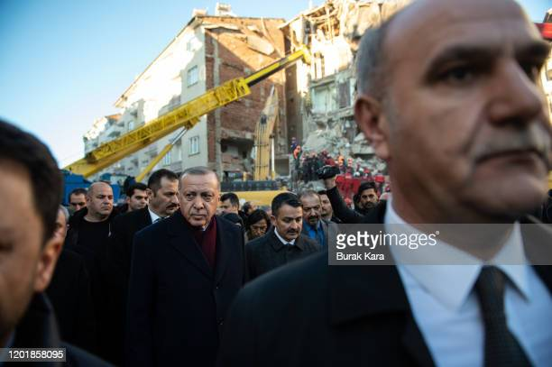 Turkish President Recep Tayyip Erdogan visits the earthquake site on January 25 2020 in Elazig Turkey The 68magnitude earthquake injured more than...