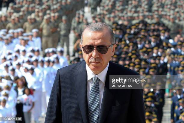 TOPSHOT Turkish President Recep Tayyip Erdogan visits the Mausoleum of Mustafa Kemal Ataturk founder of modern Turkey during a ceremony marking the...