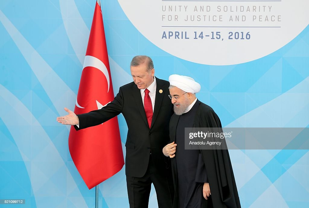 Turkish President Recep Tayyip Erdogan (L) welcomes President of Iran Hassan Rouhani (R) during the 13th Organization of Islamic Cooperation (OIC) Summit at Istanbul Congress Center (ICC), in Istanbul, Turkey on April 14, 2016. Istanbul hosts the two-day 13th OIC Summit on the April 14-15, 2016 with the attendance by prime ministers and presidents from over 30 countries.