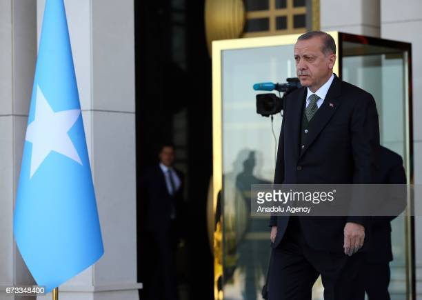 Turkish President Recep Tayyip Erdogan welcomes President of Somalia Mohamed Abdullahi Mohamed with an official welcoming ceremony at Presidential...