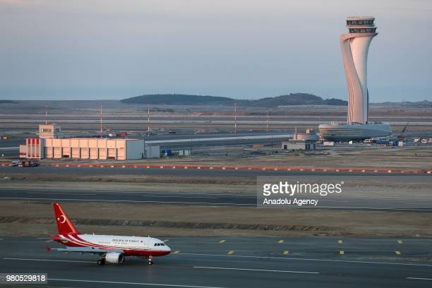 Turkish President Recep Tayyip Erdogan's aircraft makes the first ever landing at Istanbul's new colossal airport in Istanbul Turkey on June 21 2018
