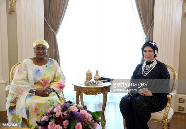Turkish President Recep Tayyip Erdogan's spouse Emine Erdogan meets with Nigerian President Muhammadu Buhari's spouse Aisha Buhari at the...