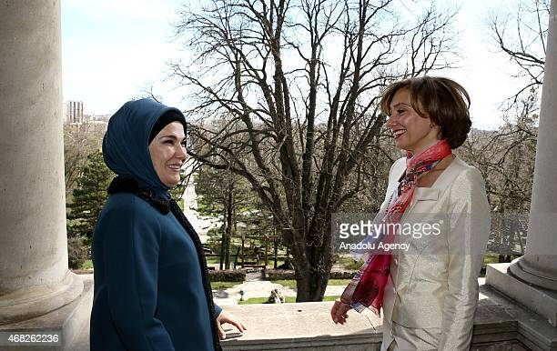 Turkish President Recep Tayyip Erdogan's wife Emine Erdogan and Carmen Iohannis wife of Romanian President Klaus Werner Iohannis take a visit at...