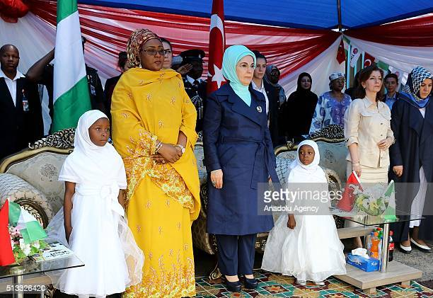 Turkish President Recep Tayyip Erdogan's wife Emine Erdogan and Nigerian President Muhammadu Buhari's wife Aisha Buhari attend the opening ceremony...