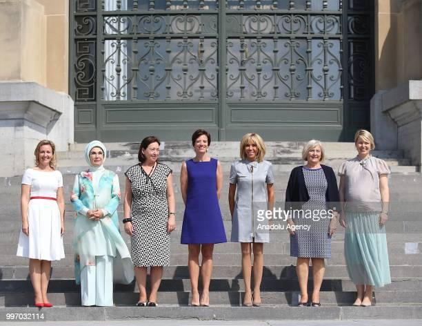 Turkish President Recep Tayyip Erdogan's wife Emine Erdogan French President Emmanuel Macron's wife Brigitte Macron Bulgarian President Rumen Radev's...