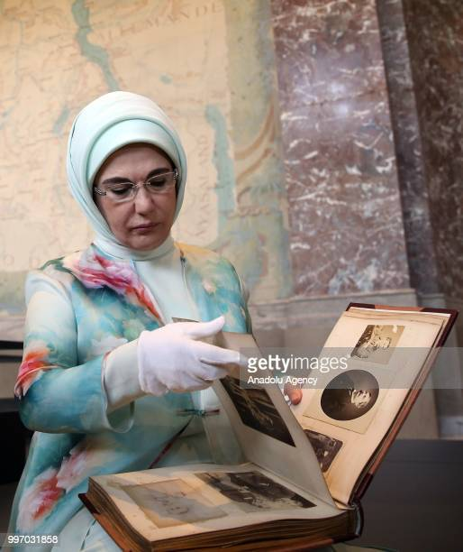 Turkish President Recep Tayyip Erdogan's wife Emine Erdogan is seen as she attends an event at the Museum of Africa with the attendance of French...