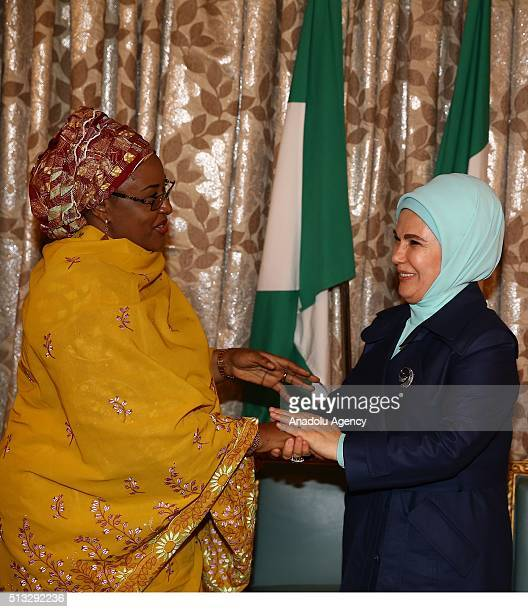 Turkish President Recep Tayyip Erdogan's wife Emine Erdogan meets with Nigerian President Muhammadu Buhari's wife Aisha Buhari within Turkish...