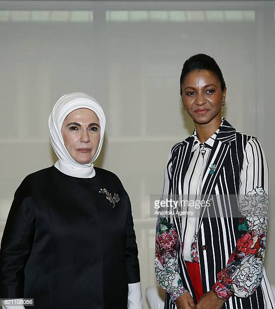 Turkish President Recep Tayyip Erdogan's wife Emine Erdogan meets with President of Gambia Yahya Yahya Jammeh's wife Zeinab Suma as a part of the...