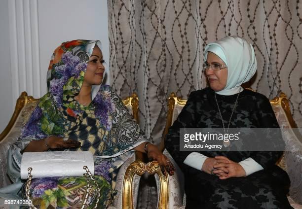 N'DJAMENA CHAD DECEMBER 26 Turkish President Recep Tayyip Erdogan's wife Emine Erdogan meets with President of Chad Idriss Deby's wife Hinda Deby in...