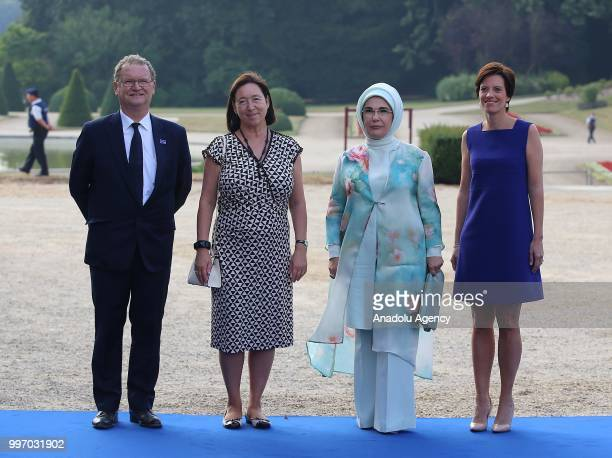 Turkish President Recep Tayyip Erdogan's wife Emine Erdogan NATO Secretary General's wife Ingrid Schulerud and Belgian Prime Minister's partner...