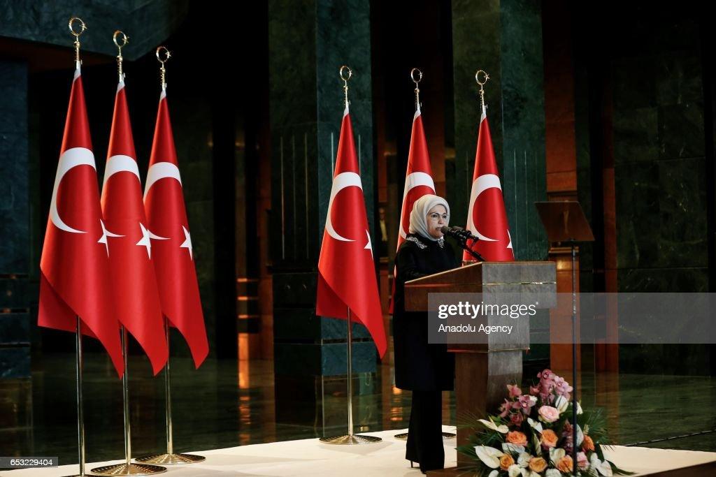 Turkish President Recep Tayyip Erdogan's wife Emine Erdogan speaks during a dinner gathering business women, female athletes and artists at the Presidential Complex in Ankara, Turkey on March 14, 2017.