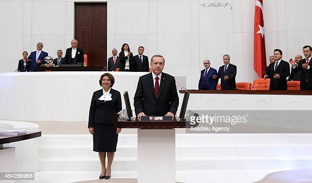 Turkish Presidentelect Recep Tayyip Erdogan swears in as the Republic of Turkey's 12th president at the Turkish Grand National Assembly on August 28...