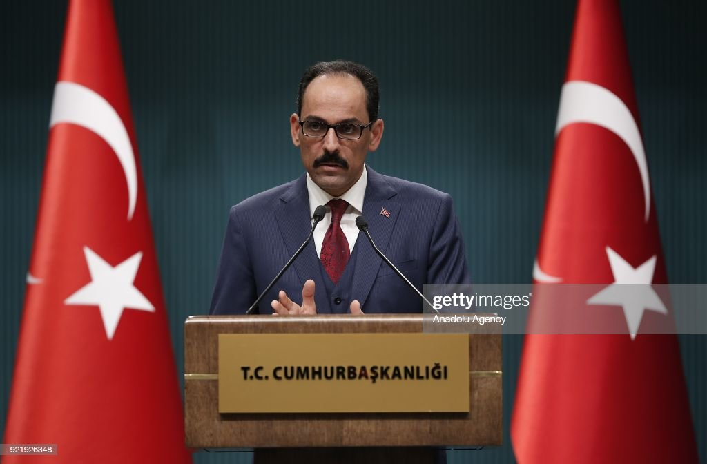 Turkish Presidential Spokesman Ibrahim Kalin holds a press conference at Presidential Complex in Ankara, Turkey on February 21, 2018.