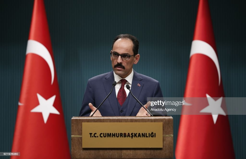 Turkish Presidential Spokesman Ibrahim Kalin speaks during a press conference at Presidential Complex in Ankara, Turkey on February 21, 2018.