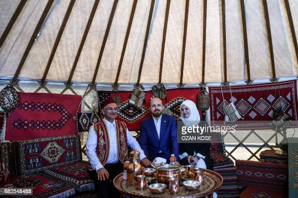 Turkish President's son Bilal Erdogan and his wife pose in a tent on May 11 during the Ethnosports Culture Festival in Istanbul Some 800 athletes...