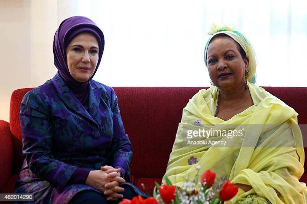 Turkish President's wife Emine Erdogan and Djiboutian President's wife Kadra Mahamoud meet in Djibouti on January 23 2015