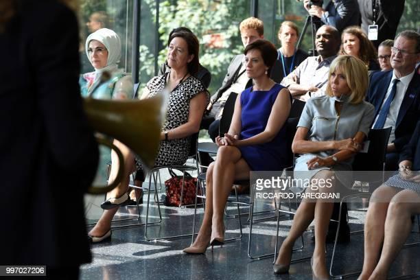 Turkish President's wife Emine Erdogan NATO Secretary General's wife Ingrid Schulerud Belgian Prime Minister's partner Amelie Derbaudrenghien and...