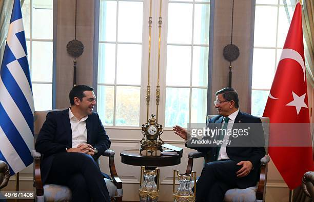 Turkish Prime Minister Ahmet Davutoglu and Greek Prime Minister Alexis Tsipras hold a meeting at Cankaya Palace in Ankara, Turkey on November 18,...