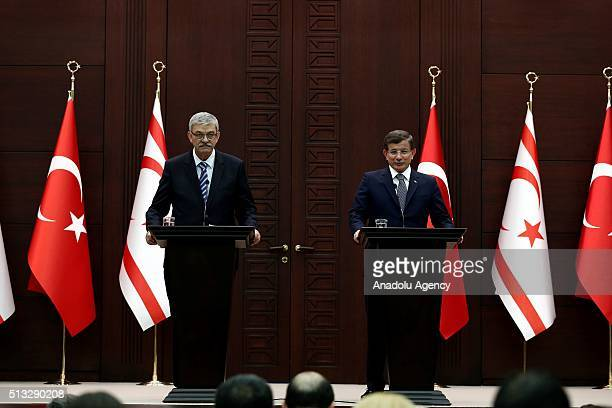 Turkish Prime Minister Ahmet Davutoglu and his Turkish Cypriot counterpart, Omer Kalyoncu , attend a joint press conference after agreement signing...