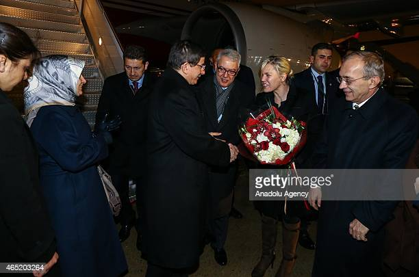 Turkish Prime Minister Ahmet Davutoglu and his wife Sare Davutoglu arrive at the John F Kennedy International Airport in New York USA on March 04...
