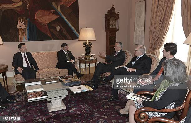 Turkish Prime Minister Ahmet Davutoglu and Turkey's Deputy Prime Minister Ali Babacan meet with President of Portugal Aníbal Cavaco Silva in Lisbon...