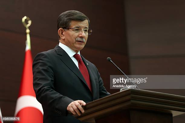 Turkish Prime Minister Ahmet Davutoglu announces his new Cabinet at a press conference at Cankaya Palace in Ankara, Turkey following his meeting with...