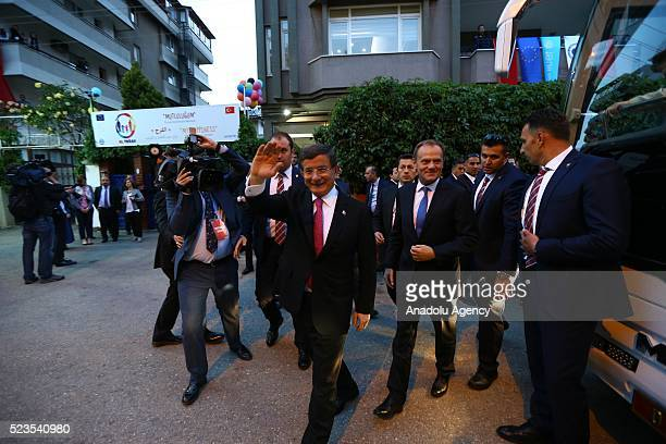 Turkish Prime Minister Ahmet Davutoglu German Chancellor Angela Merkel EU Council President Donald Tusk and EU Commission Vice President Frans...