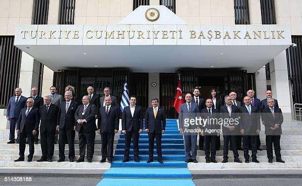 Turkish Prime Minister Ahmet Davutoglu Greek Prime Minister Alexis Tsipras Turkish Deputy Prime Minister Yalcin Akdogan Turkey's EU Minister Volkan...