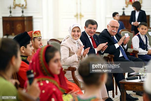 Turkish Prime Minister Ahmet Davutoglu his wife Sare Davutoglu and Turkish National Education Minister Nabi Avci meet children who will attend the...