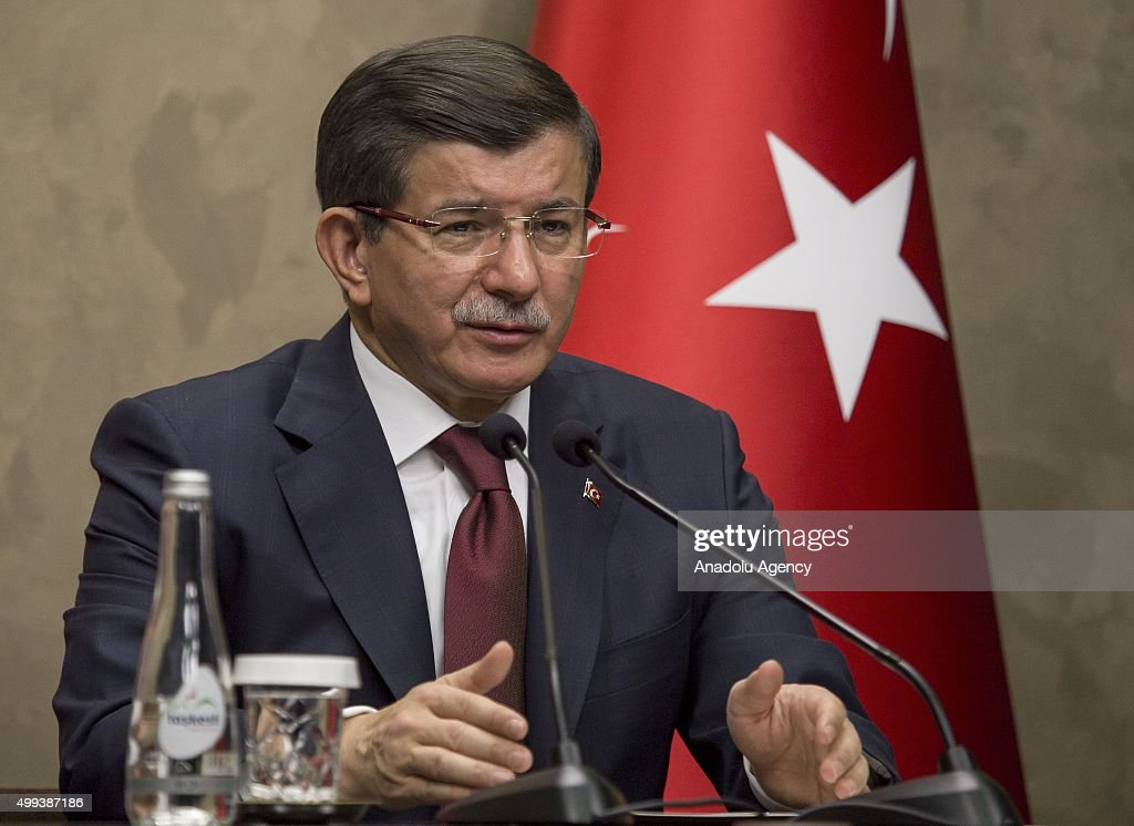 Turkish Prime Minister Ahmet Davutoglu speaks during a press conference at Esenboga International Airport ahead of his Turkish Republic of Northern Cyprus (TRNC) visit on December 01, 2015 in Ankara, Turkey.