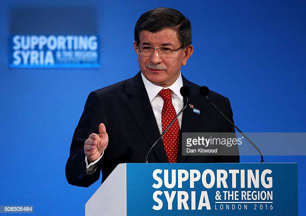 Turkish Prime Minister Ahmet Davutoglu speaks during the 'Supporting Syria Conference' at The Queen Elizabeth II Conference Centre on February 4 2016...
