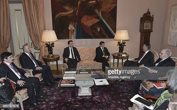 Turkish Prime Minister Ahmet Davutoglu Turkey's Deputy Prime Minister Ali Babacan and Turkish Foreign Minister Mevlut Cavusoglu meet with President...