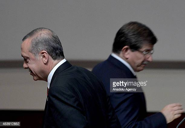 Turkish Prime Minister and the head of Turkeys ruling Justice and Development Party Recep Tayyip Erdogan and Turkish Foreign Minister Ahmet Davutoglu...