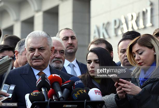Turkish Prime Minister and the leader of the Justice and Development Party Binali Yildirim speaks to media before AK Party central executive board...