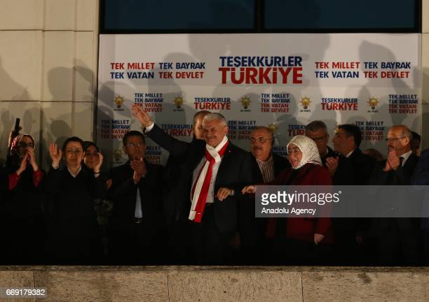 Turkish Prime Minister and the Leader of Turkey's Justice and Development Party Binali Yildirim his wife Semiha Yildirim Deputy Prime Ministers Numan...