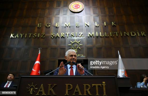 Turkish Prime Minister and the leader of Turkey's ruling Justice and Development Party Binali Yildirim attends the AK Party's group meeting at the...
