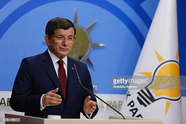 Turkish Prime Minister and the leader of Turkey's ruling party the Justice and Development Party holds a press conference after an executive board...