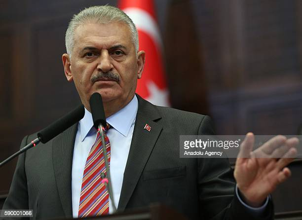 Turkish Prime Minister and the leader of Turkey's ruling party the Justice and Development Party Binali Yildirim speaks during AK Party's group...