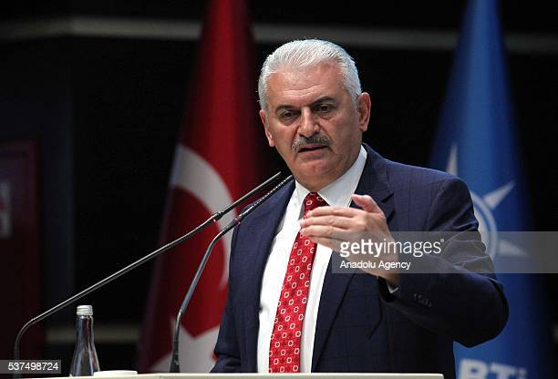 Turkish Prime Minister Binali Yildirim addresses during the enlarged meeting of provincial chairmans of Justice and Development Party at the AK Party...