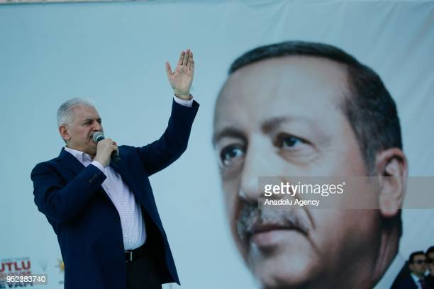 Turkish Prime Minister Binali Yildirim addresses the crowd after attending AK Party's 6th ordinary provincial congress in western Izmir province...