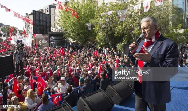 Turkish Prime Minister Binali Yildirim addresses the crowd during a meeting at Buca district in Izmir Turkey on April 11 2017