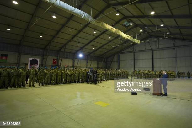 Turkish Prime Minister Binali Yildirim addresses the soldiers as he meets with Turkish soldiers in helicopter hangar of Turkish Military Training...
