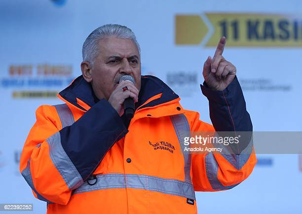 Turkish Prime Minister, Binali Yildirim addresses to people during his visit the 'Light seen at the end of Ovit Tunnel' ceremony of Ovit Tunnel...