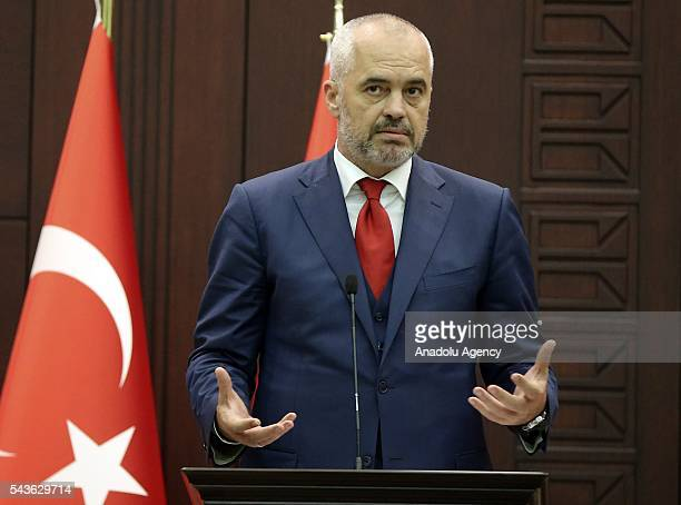 Turkish Prime Minister Binali Yildirim and Albanian Prime Minister Edi Rama hold a joint press conference following their meeting at Cankaya Palace...