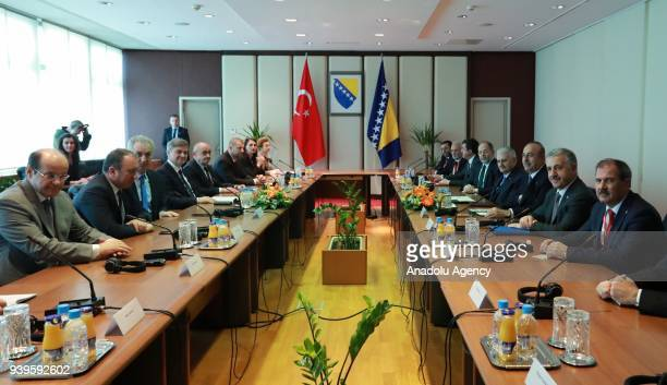 Turkish Prime Minister Binali Yildirim and Chairman of the Council of Ministers of Bosnia and Herzegovina Denis Zvizdic hold a meeting in Sarajevo...