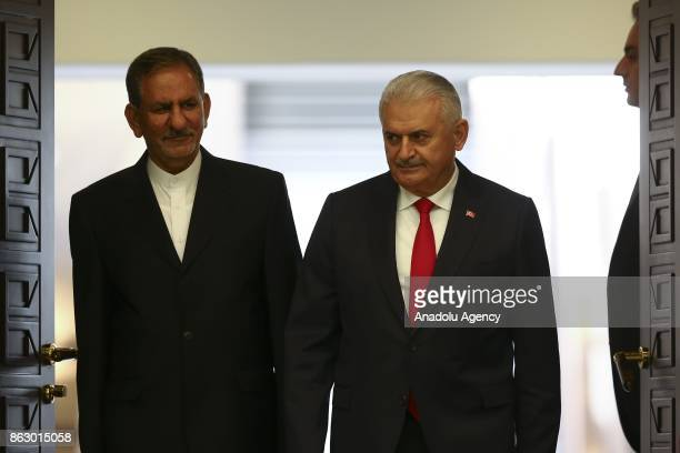 Turkish Prime Minister Binali Yildirim and Iran's First Vice President Eshaq Jahangiri hold a joint press conference at Cankaya Palace in Ankara...