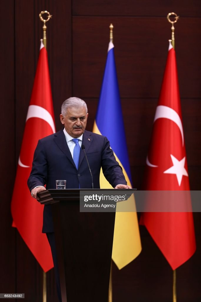 Turkish Prime Minister Binali Yildirim and Prime Minister of Ukraine Volodymyr Groysman (not seen) hold a joint press conference in Ankara, Turkey on March 14, 2017.