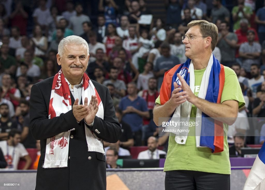 Turkish Prime Minister Binali Yildirim and Slovenian Prime Minister Miro Cerar attend the cup ceremony after the FIBA Eurobasket 2017 final basketball match between Slovenia and Serbia at the Sinan Erdem Dome in Istanbul, Turkey on September 17, 2017.