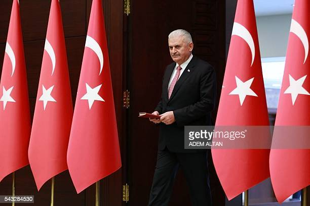 Turkish Prime Minister Binali Yildirim arrives to hold a press conference after a TurkishIsraeli meeting at the Cankaya Palace in Ankara on June 27...