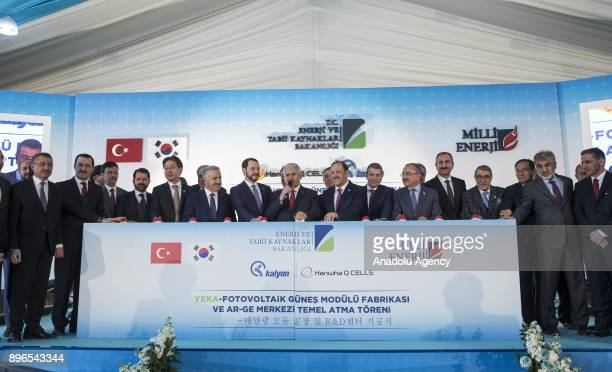 Turkish Prime Minister Binali Yildirim attends Renewable Energy Resource Area Photovoltaic Solar Module Factory and Research and Development...